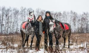 Фотосессии с лошадьми зимой, Москва, love story